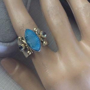 SS925 Ring 2 tones blue agate druzy sky bl…